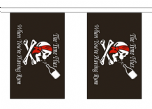 Pirate Skull & Crossbones The Time Flies When You're Having Rum Flag - 3m Bunting